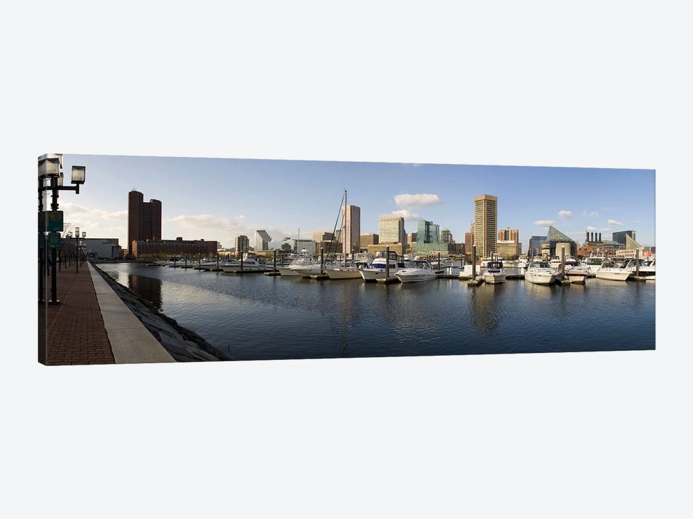 Boats moored at a harbor, Inner Harbor, Baltimore, Maryland, USA 2009 by Panoramic Images 1-piece Canvas Print
