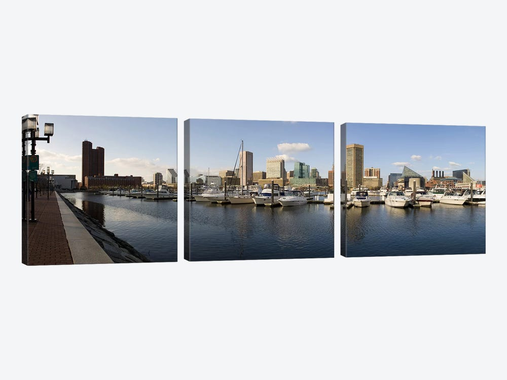 Boats moored at a harbor, Inner Harbor, Baltimore, Maryland, USA 2009 by Panoramic Images 3-piece Art Print