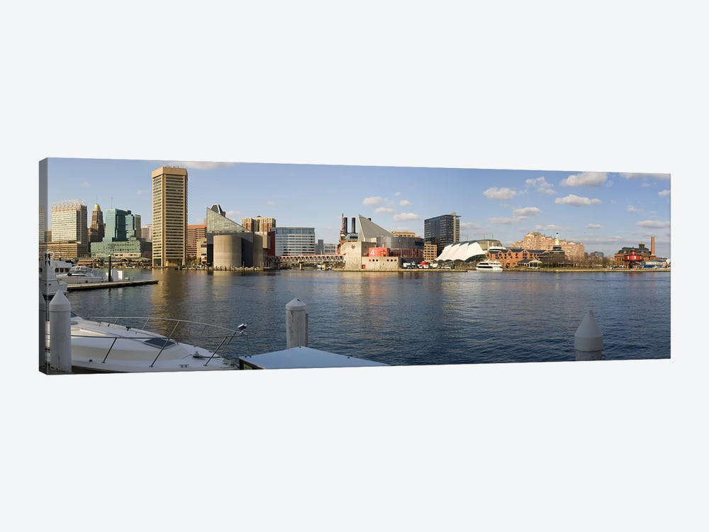 Boats moored at a harbor, Inner Harbor, Baltimore, Maryland, USA 2009 #2 by Panoramic Images 1-piece Canvas Wall Art