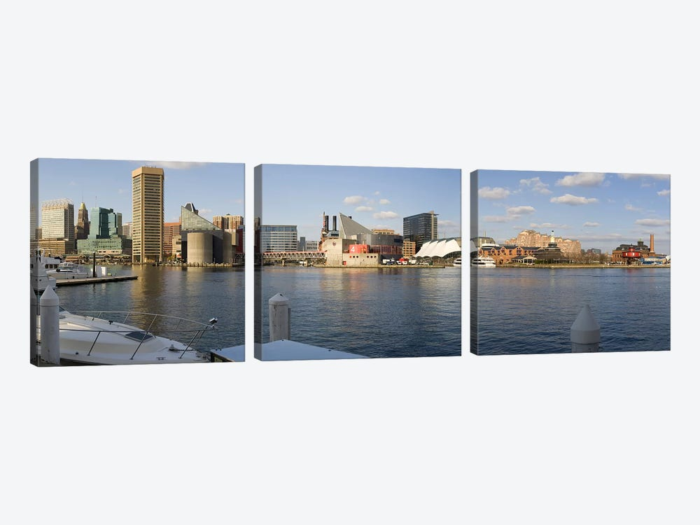 Boats moored at a harbor, Inner Harbor, Baltimore, Maryland, USA 2009 #2 by Panoramic Images 3-piece Canvas Art