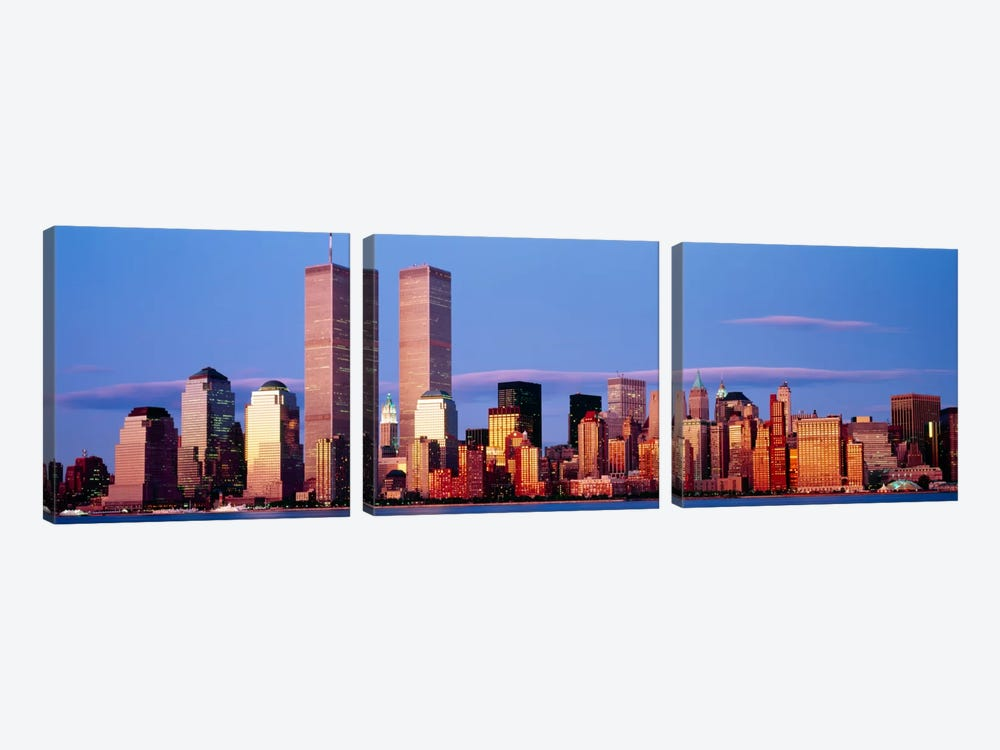 Skyscrapers in a city, Manhattan, New York City, New York State, USA by Panoramic Images 3-piece Canvas Wall Art