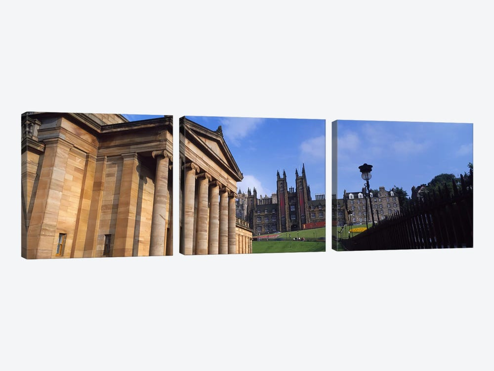 Art museum with Free Church Of Scotland in the background, National Gallery Of Scotland, The Mound, Edinburgh, Scotland by Panoramic Images 3-piece Canvas Artwork