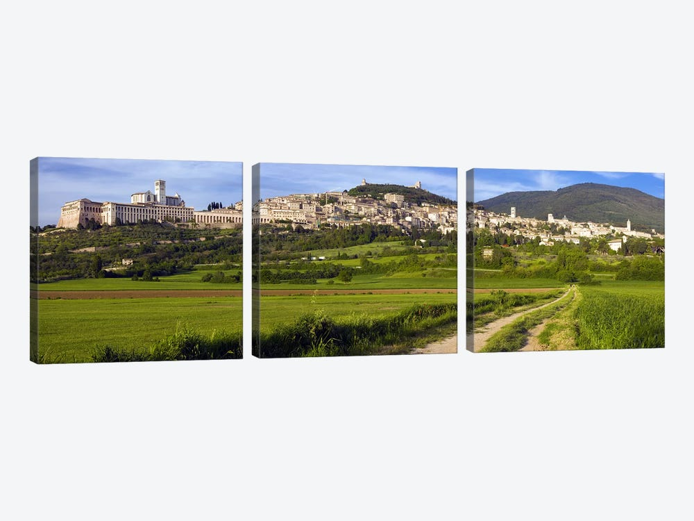 Panoramic View Of Assisi, Perugia, Umbria, Italy by Panoramic Images 3-piece Canvas Artwork