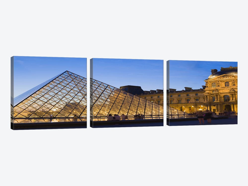 Pyramid in front of a museum, Louvre Pyramid, Musee Du Louvre, Paris, Ile-de-France, France by Panoramic Images 3-piece Canvas Art Print