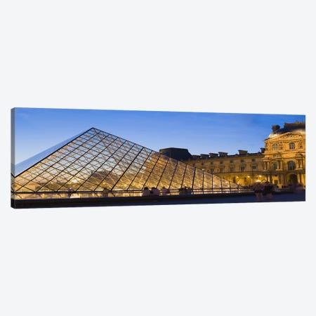 Pyramid in front of a museum, Louvre Pyramid, Musee Du Louvre, Paris, Ile-de-France, France Canvas Print #PIM8469} by Panoramic Images Canvas Print