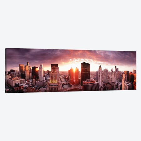 Sunset River View Chicago IL Canvas Print #PIM846} by Panoramic Images Canvas Print
