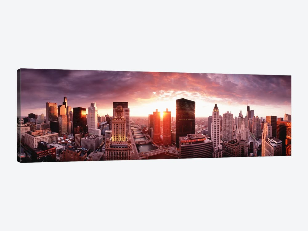Sunset River View Chicago IL by Panoramic Images 1-piece Art Print