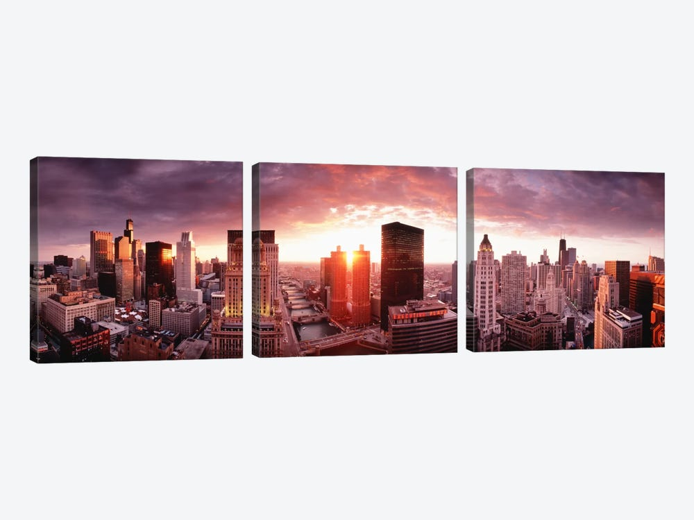 Sunset River View Chicago IL by Panoramic Images 3-piece Art Print