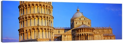 Tower with a cathedral, Pisa Cathedral, Leaning Tower Of Pisa, Piazza Dei Miracoli, Pisa, Tuscany, Italy Canvas Print #PIM8470
