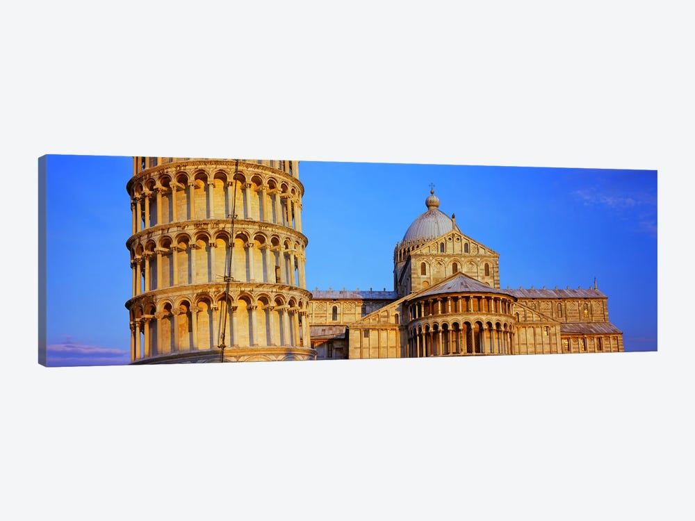 Tower with a cathedral, Pisa Cathedral, Leaning Tower Of Pisa, Piazza Dei Miracoli, Pisa, Tuscany, Italy by Panoramic Images 1-piece Art Print