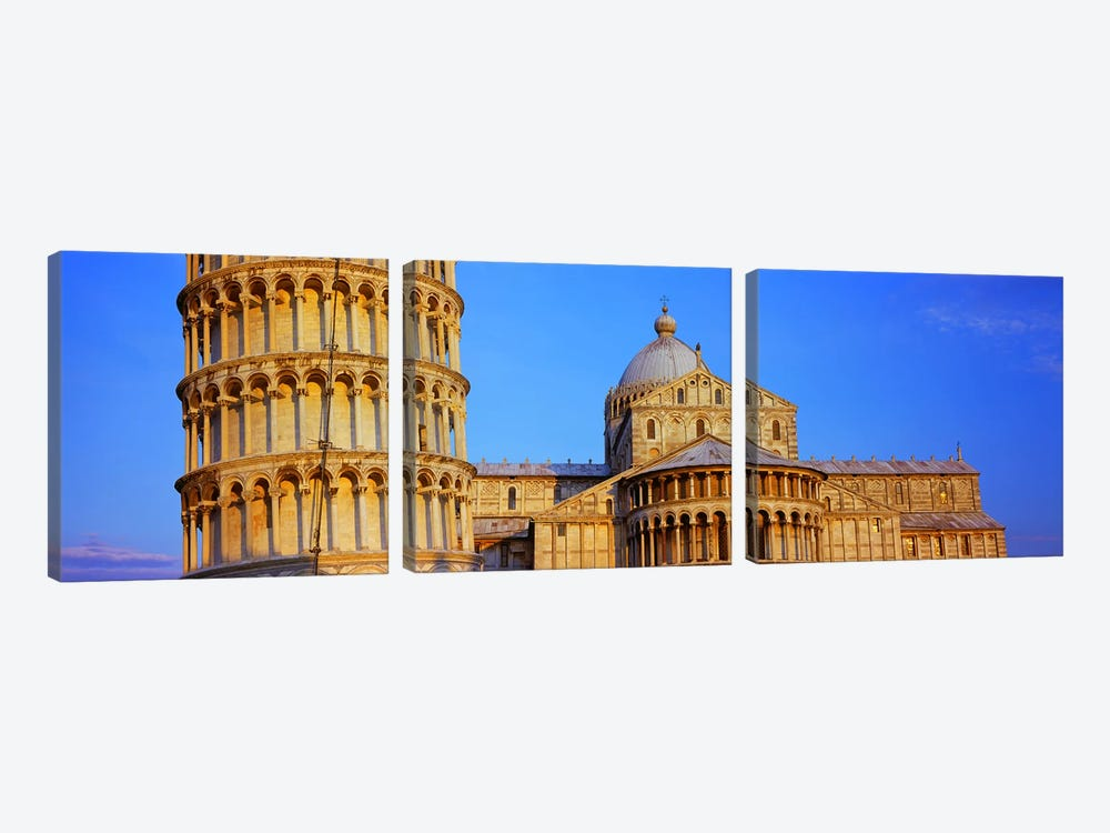 Tower with a cathedral, Pisa Cathedral, Leaning Tower Of Pisa, Piazza Dei Miracoli, Pisa, Tuscany, Italy by Panoramic Images 3-piece Art Print