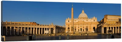 Sunlight falling on a basilica, St. Peter's Basilica, St. Peter's Square, Vatican city, Rome, Lazio, Italy Canvas Art Print