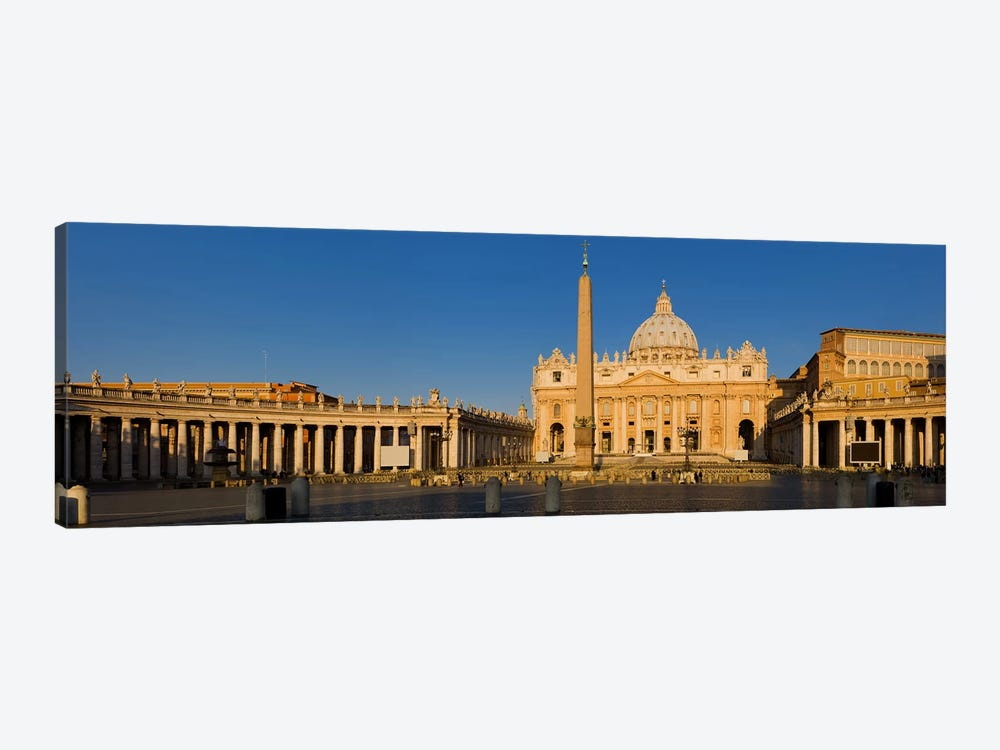 Sunlight falling on a basilica, St. Peter's Basilica, St. Peter's Square, Vatican city, Rome, Lazio, Italy by Panoramic Images 1-piece Canvas Wall Art