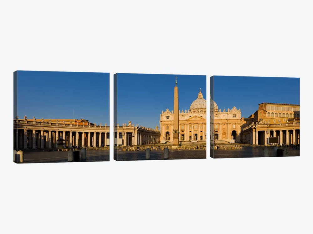 Sunlight falling on a basilica, St. Peter's Basilica, St. Peter's Square, Vatican city, Rome, Lazio, Italy by Panoramic Images 3-piece Canvas Wall Art