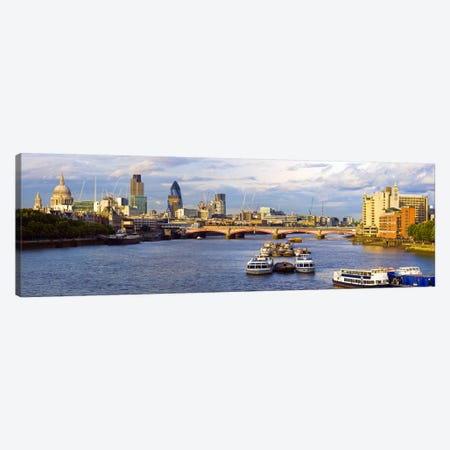 Bridge across a river with a cathedral in the background, Blackfriars Bridge, St. Paul's Cathedral, Thames River, London, England Canvas Print #PIM8480} by Panoramic Images Art Print
