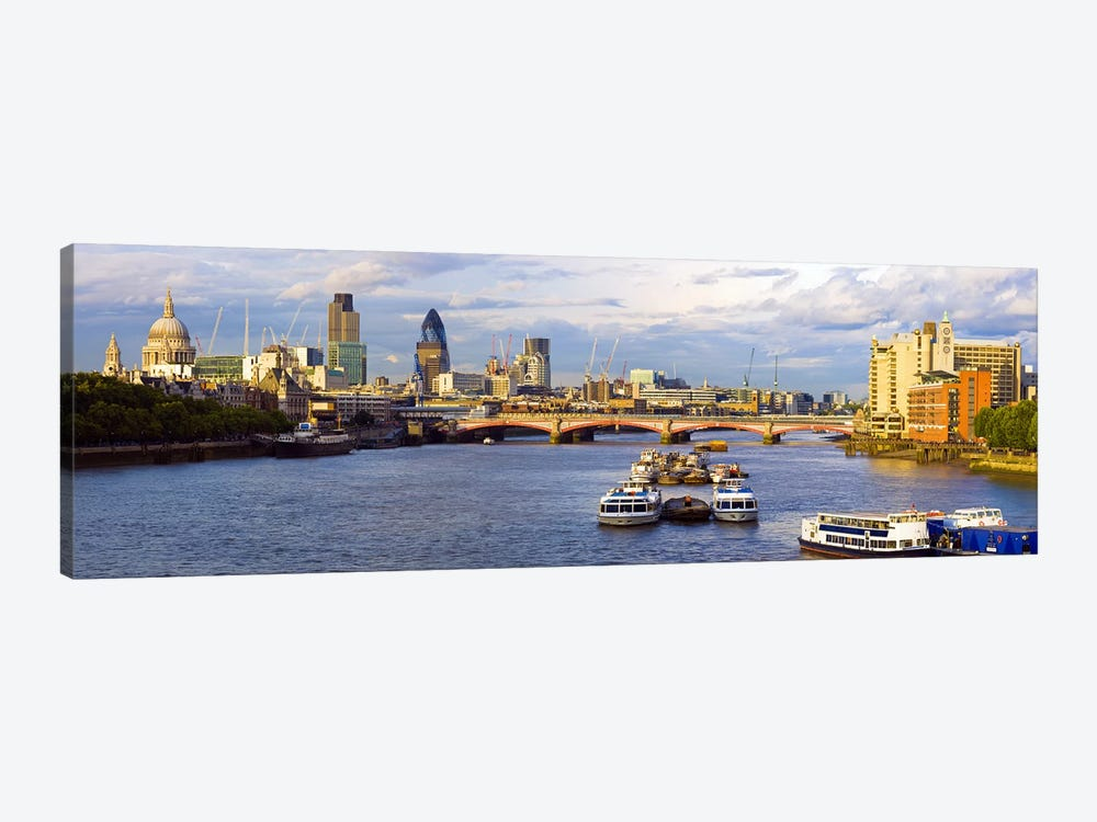 River Thames View Of The City Of London Skyline With Blackfriars Bridge, London, England, United Kingdom by Panoramic Images 1-piece Canvas Artwork