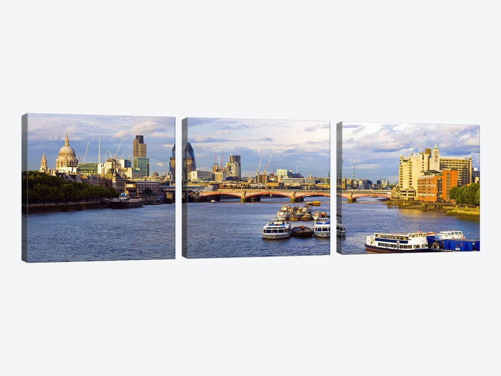 River Thames View Of The City Of London Skyline With Blackfriars Bridge, London, England, United Kingdom by Panoramic Images 3-piece Canvas Wall Art