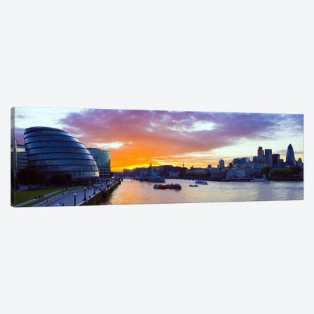 City hall with office buildings at sunsetThames River, London, England Canvas Print #PIM8483} by Panoramic Images Canvas Print