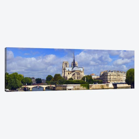 Cathedral at the riverside, Notre Dame Cathedral, Seine River, Paris, Ile-de-France, France Canvas Print #PIM8486} by Panoramic Images Canvas Art