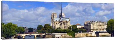 Cathedral at the riverside, Notre Dame Cathedral, Seine River, Paris, Ile-de-France, France Canvas Print #PIM8486