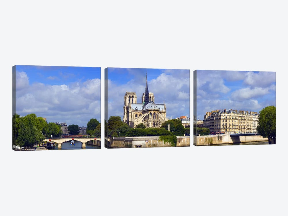 Cathedral at the riverside, Notre Dame Cathedral, Seine River, Paris, Ile-de-France, France by Panoramic Images 3-piece Canvas Wall Art