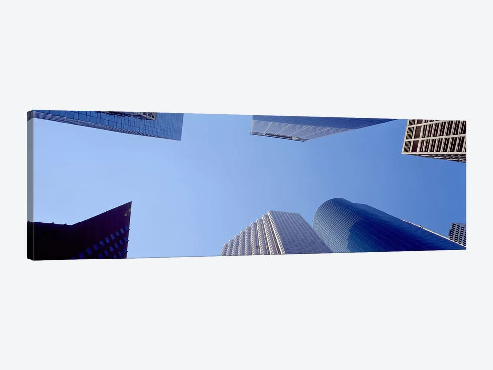 Low angle view of skyscrapers against blue sky, Houston, Texas, USA #2 by Panoramic Images 1-piece Canvas Print