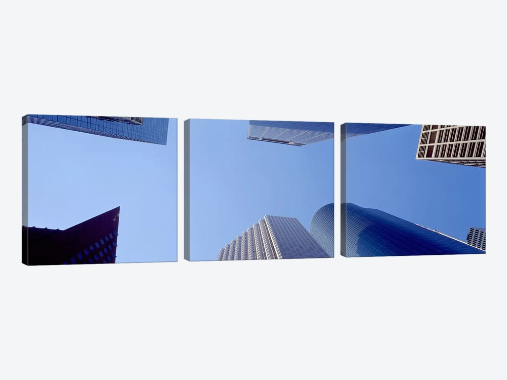 Low angle view of skyscrapers against blue sky, Houston, Texas, USA #2 by Panoramic Images 3-piece Art Print