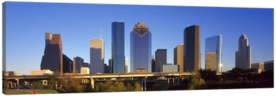 Skyscrapers against blue sky, Houston, Texas, USA Canvas Art Print