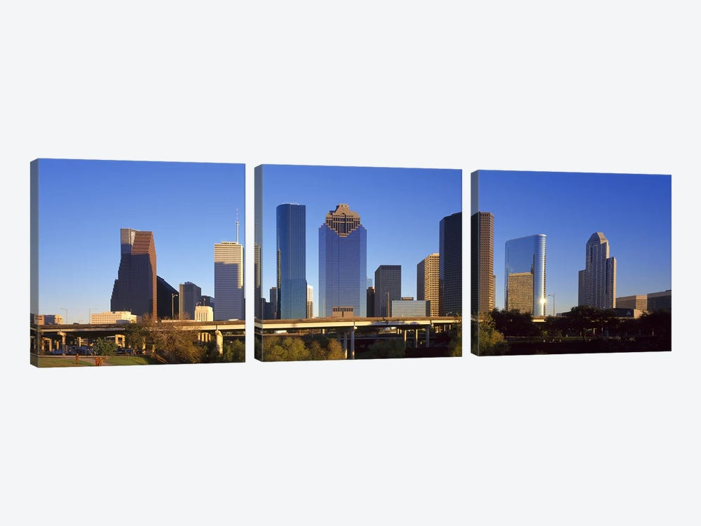 Skyscrapers against blue sky, Houston, Texas, USA by Panoramic Images 3-piece Canvas Art