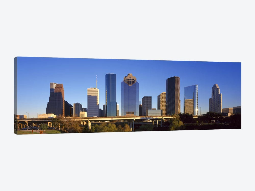 Skyscrapers against blue sky, Houston, Texas, USA by Panoramic Images 1-piece Canvas Art