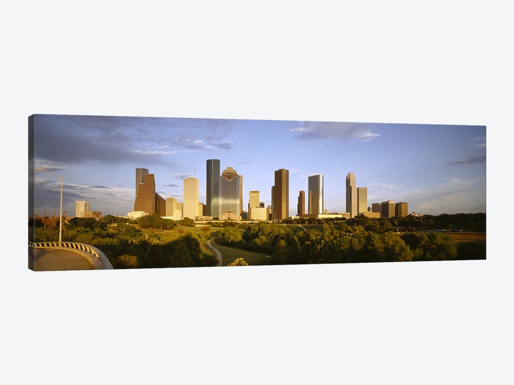 Skyscrapers against cloudy sky, Houston, Texas, USA by Panoramic Images 1-piece Canvas Art