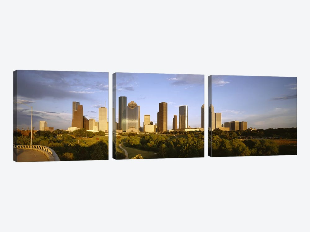 Skyscrapers against cloudy sky, Houston, Texas, USA by Panoramic Images 3-piece Canvas Art