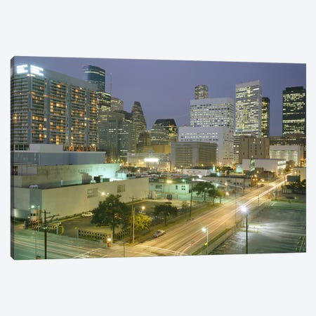 Skyscrapers lit up at night, Houston, Texas, USA #2 Canvas Print #PIM8497} by Panoramic Images Art Print