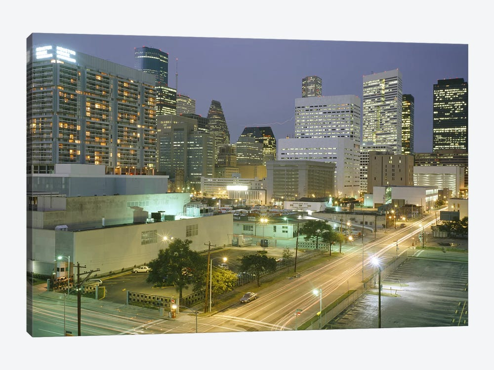 Skyscrapers lit up at night, Houston, Texas, USA #2 by Panoramic Images 1-piece Canvas Artwork
