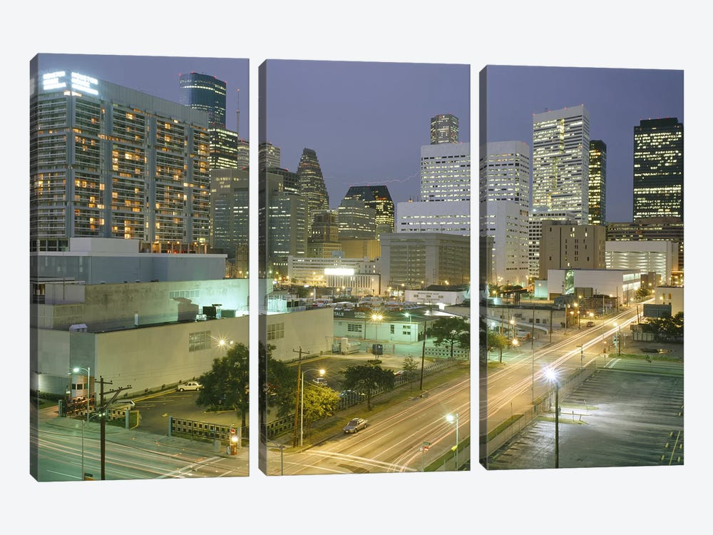 Skyscrapers lit up at night, Houston, Texas, USA #2 by Panoramic Images 3-piece Canvas Art