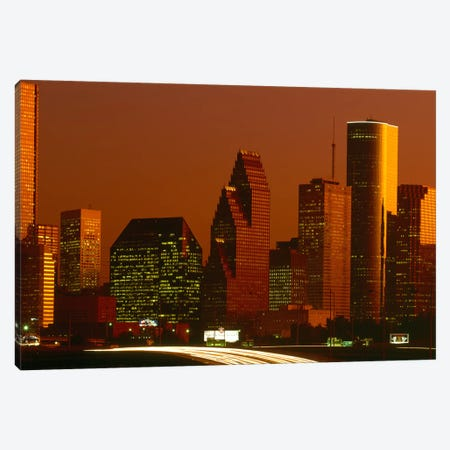 Skyscrapers in a city at sunset, Houston, Texas, USA Canvas Print #PIM8498} by Panoramic Images Canvas Artwork