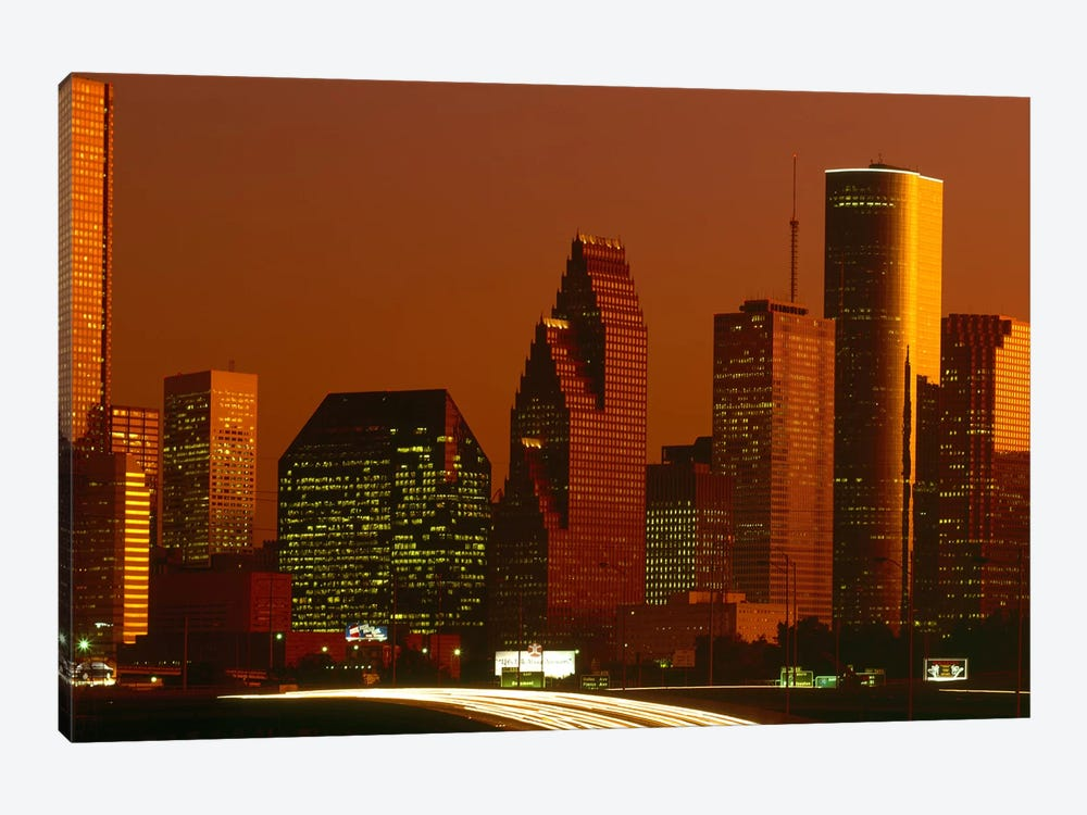 Skyscrapers in a city at sunset, Houston, Texas, USA by Panoramic Images 1-piece Canvas Art Print