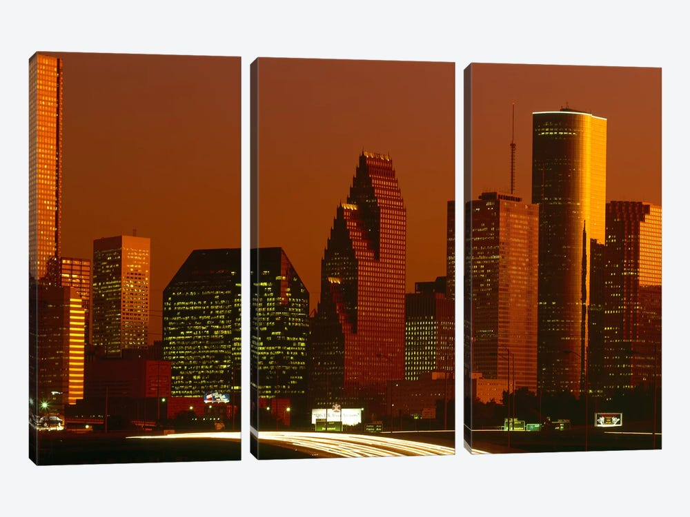 Skyscrapers in a city at sunset, Houston, Texas, USA 3-piece Art Print