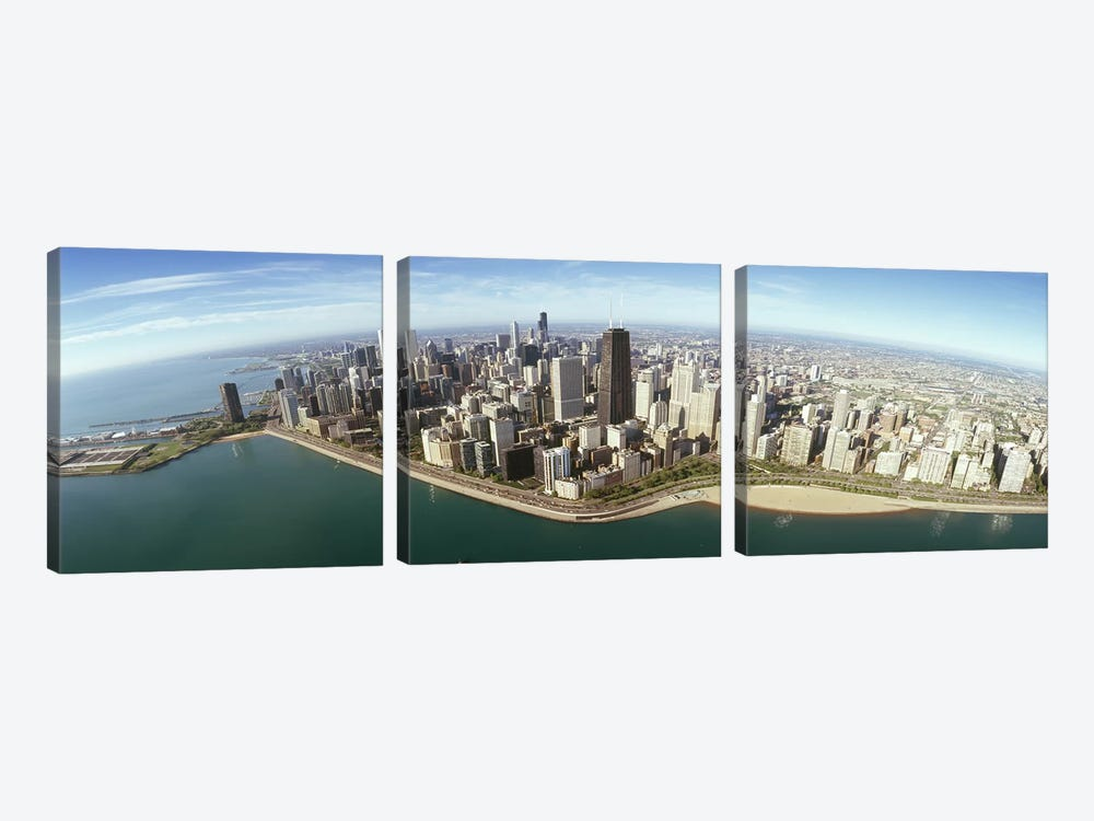 Aerial view of a city, Chicago, Cook County, Illinois, USA 2010 by Panoramic Images 3-piece Canvas Art Print