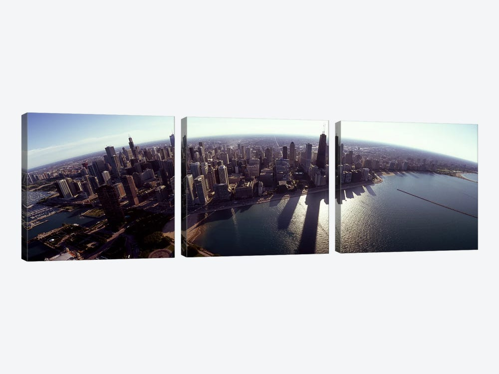 Aerial view of a city, Chicago, Cook County, Illinois, USA 2010 #2 by Panoramic Images 3-piece Art Print