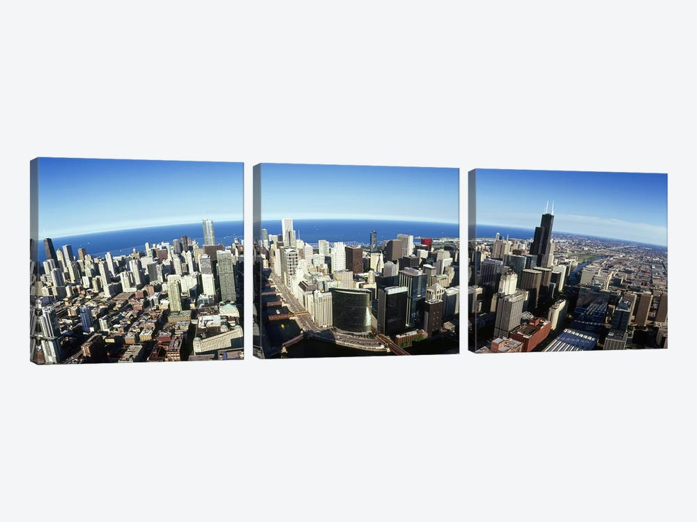Aerial view of a city, Chicago, Cook County, Illinois, USA 2010 #3 by Panoramic Images 3-piece Canvas Print