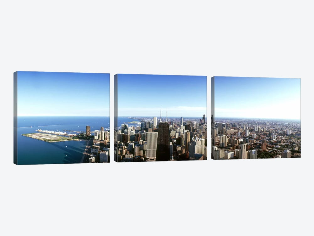 Aerial view of a city, Chicago, Cook County, Illinois, USA 2010 #4 by Panoramic Images 3-piece Canvas Art