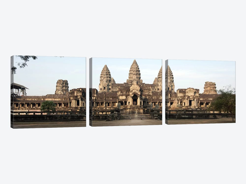 Facade of a temple, Angkor Wat, Angkor, Siem Reap, Cambodia by Panoramic Images 3-piece Art Print
