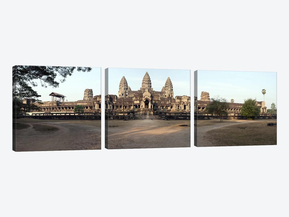 Facade of a temple, Angkor Wat, Angkor, Cambodia by Panoramic Images 3-piece Canvas Art Print