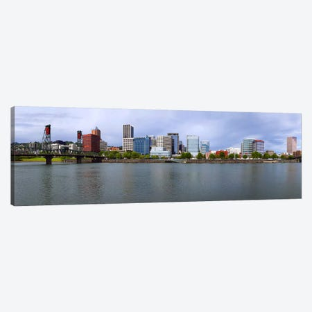 Hawthorne Bridge & Burnside Bridge, Willamette River, Portland, Oregon, USA Canvas Print #PIM8521} by Panoramic Images Canvas Artwork