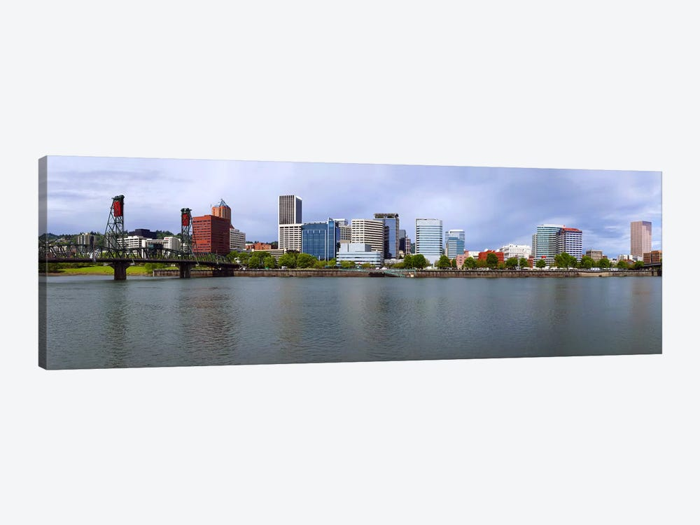 Hawthorne Bridge & Burnside Bridge, Willamette River, Portland, Oregon, USA by Panoramic Images 1-piece Canvas Art