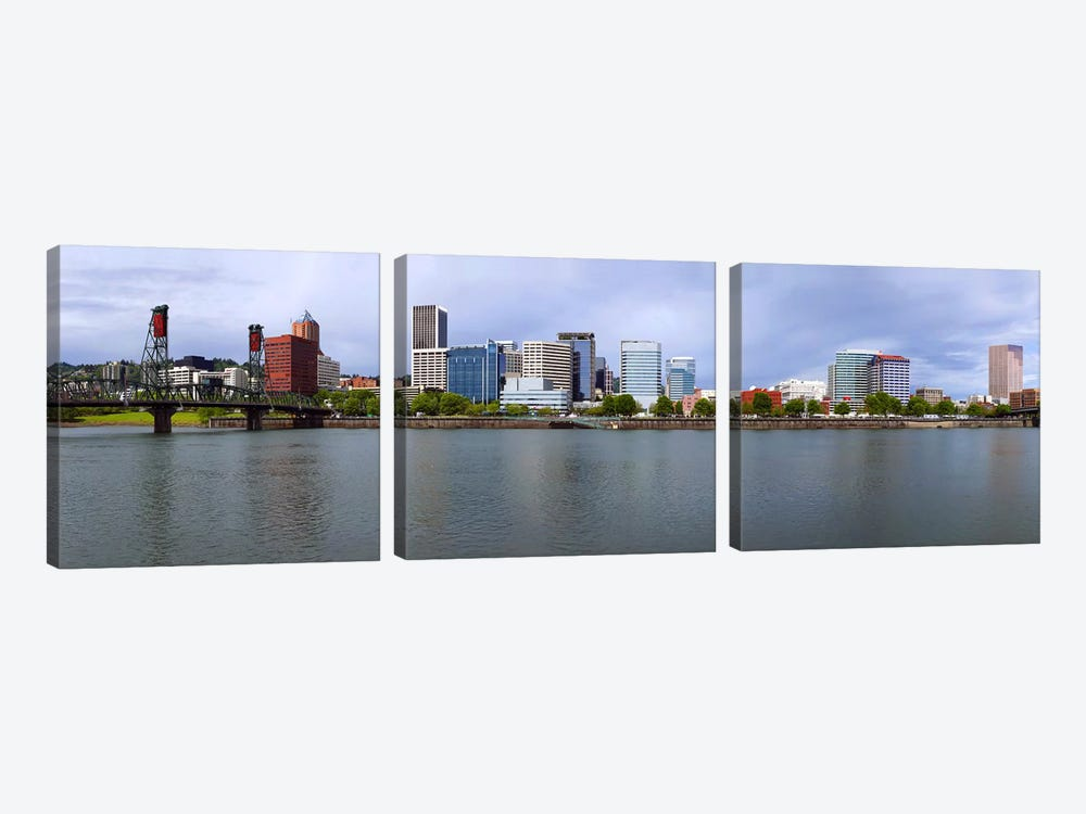 Hawthorne Bridge & Burnside Bridge, Willamette River, Portland, Oregon, USA 3-piece Canvas Art
