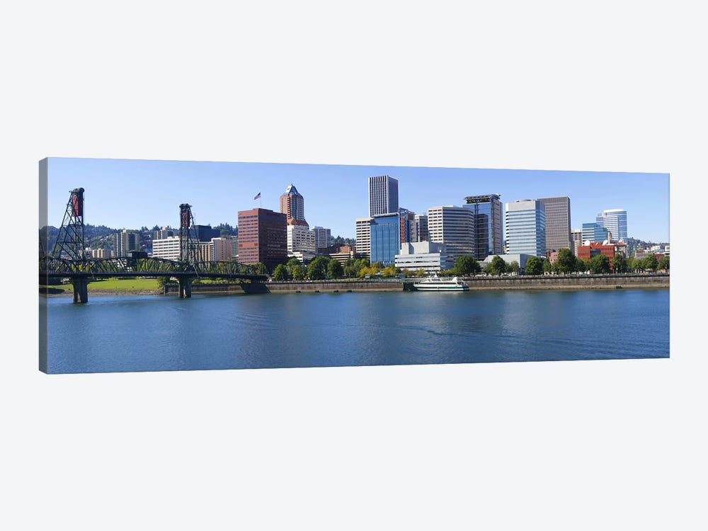 Bridge across a river, Willamette River, Portland, Oregon, USA by Panoramic Images 1-piece Canvas Wall Art
