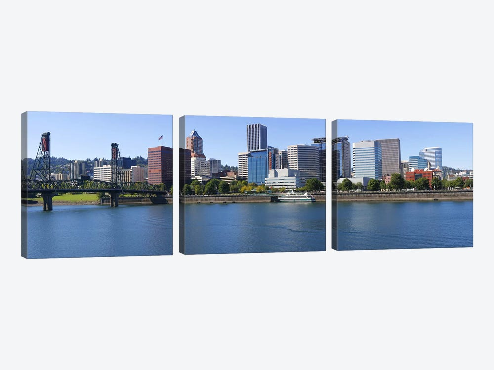 Bridge across a river, Willamette River, Portland, Oregon, USA by Panoramic Images 3-piece Canvas Artwork