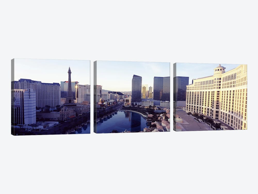 Hotels in a city, The Strip, Las Vegas, Nevada, USA 2010 by Panoramic Images 3-piece Canvas Art